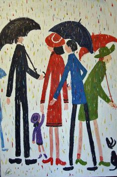 Sunday Umbrellas, Simeon Stafford, 2009 Oil Painting