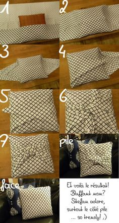 23 Clever DIY Christmas Decoration Ideas By Crafty Panda Bow Pillows, Sewing Pillows, Diy Throw Pillows, Burlap Pillows, Decorative Pillows, Diy Throws, No Sew Pillow Covers, Cushion Covers, Furoshiki