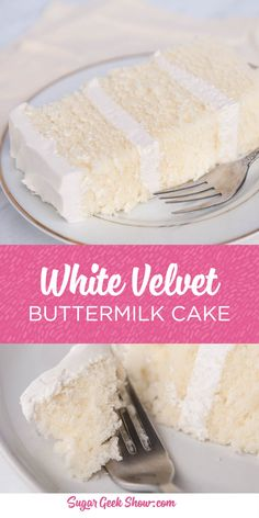 This white velvet buttermilk cake recipe is my FAVORITE cake recipe out of all of them. Yes even better than my famous vanilla cake recipe! The texture of this cake is simply out of this world. Tender, fluffy and the most amazing flavor from the buttermilk. I pair this moist cake with my ermine frosting and get rave reviews! #whitecake #vanillacake #buttermilkcake #cake #cakedecorating #sugargeekshow
