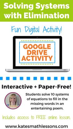 Check out this fun digital algebra activity! Interactive and paper-free. Students solve 10 systems of equations with the elimination method to fill in the missing words in an entertaining poem. Purchase includes link to download the activity in Google Slides. Algebra Activities, Math Resources, Teaching Math, Teaching Ideas, Systems Of Equations, Math Talk, Fun Math, Math 2, Secondary Math