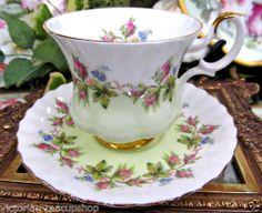 ROYAL ALBERT TEA CUP AND SAUCER LIME GREEM AND MOSS ROSE TEACUP
