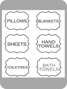 The House Of Smiths Designs — Linen Closet Labels Medicine Organization, Linen Closet Organization, Household Organization, Organization Ideas, Printable Labels, Free Printables, Closet Labels, Organizing Labels, Laundry Room Remodel