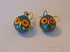 Owl Paper Mache Earrings by HoiPolloiHandmade on Etsy, $18.00