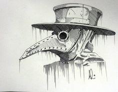 Birds of plague - ballpoint cross hatch