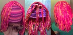 How to Make a Yarn Wig: Attach the Back & Side Locks