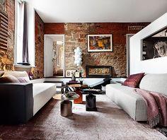 Paredes de piedra en un apartamento de diseño