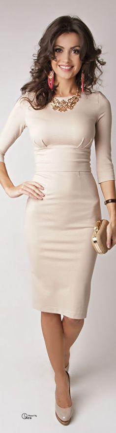 Cream Sheath Dress and Beige High Heels. 8) ♡