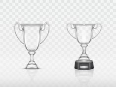 Realistic cup, transparent glass trophy for winner of competition, championship. Free Vector