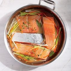 Any fish can be poached--cooking time will vary depending on the size and thickness of the fillets. Serve them warm or cold. Poached Salmon Fillet, Salmon Fillets, Salmon Recipes, Fish Recipes, Seafood Recipes, Appetizer Recipes, Healthy Cooking, Cooking Recipes, Cooking Time