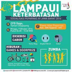 Hallo Indonesia! Besok, Minggu 09 Oktober akan digelar sosialisasi #Peparnas2016 di Car Free Day Dago yang dimulai dengan pawai atlet paralimpik dari GOR Padjajaran pukul 06.00 WIB. Selain eksebisi cabor dan berzumba ria bersama, ada games dan doorprizenya, lho. Ditunggu kedatangannya ya!