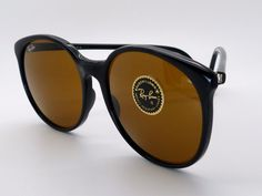 Ladies Vintage B&L Ray Ban Traditionals Round W0348 Black B-15 Brown Lens New! by VSOx on Etsy