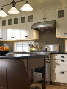 Add a couple glass front cabinets.  White Upper Cabinets Design Ideas, Pictures, Remodel, and Decor - page 60