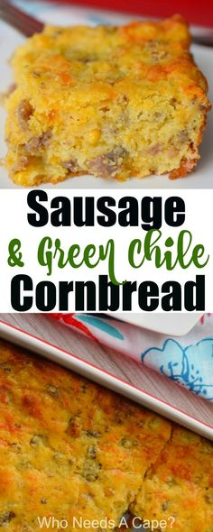 Sausage & Green Chile Cornbread is almost a meal in itself. Perfect for brunch or as part of a holiday meal. You'll love this deliciously easy side dish. Mexican Food Recipes, New Recipes, Favorite Recipes, Recipies, Family Recipes, Amazing Recipes, Diabetic Recipes, Pork Recipes, Holiday Recipes