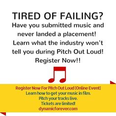 TIRED OF FAILING?  Have you submitted music and never landed a placement!  Learn what the industry won't tell you during Pitch Out Loud! Register Now!! Register Now For Pitch Out Loud [Online Event] Learn how to get your music in film.  Pitch your tracks live. Tickets are limited! http://ift.tt/23XnaIg  #filmcomposer #musicforfilm #filmmusic #listeningsession #pitchoutloud #dynamicproducer #dynamicon #licensing #trailermusic #dynamicforever #musicpitching