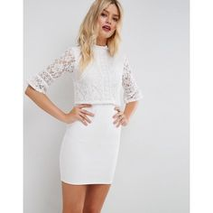 ASOS Lace Crop Top Mini Dress With Trim ($75) ❤ liked on Polyvore featuring dresses, white, short party dresses, bodycon prom dresses, high neck prom dresses, party dresses and white lace dress