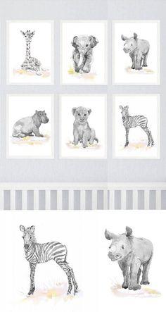 Neutral Nursery Decor Safari Art Set of 6 Prints Baby Watercolor Painting Boy Girl Animals Gray Pink Yellow Wall art Watercolour Print  Set of 6 prints -   high quality fine art prints of my original watercolor painting. It is the work of a watercolor series Portraits of the Heart    Size paper: 14,8 × 21cm,5 4/5 × 8 1/4, A5 (with white borders) - 36.00 $  21 cm x 29,7 cm, 8 1/4 x 11.5/8, A4.(with white borders) - 68.00 $  29,7cm × 42cm, 11,69 × 16,54, A3(with white borders) - 122.00 $…