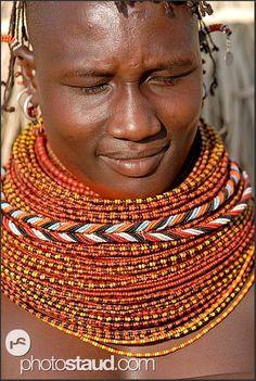 Turkana girl with genuine tribal bead necklaces, Northern Kenya