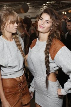 in love with these braids and the heather grey + leather combo