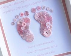 happy quotes & We choose the most beautiful Button Footprint ~ Button Art ~ New Baby Gift for you.New Baby Gift Baby Girl Gift Baby Feet von most beautiful quotes ideas Regalo Baby Shower, Baby Shower Gifts, Button Art, Button Crafts, Print Button, Baby Girl Gifts, New Baby Gifts, Scrapbook Bebe, Baby Girl Scrapbook