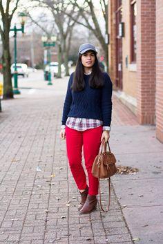 navy sweater, plaid shirt, red denim, ball cap.jpg