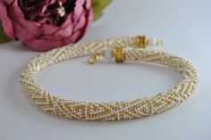 Luxury Handmade Jewelry Crochet, Rope beads crochet, Crochet beaded Necklace, Bead necklace, Handmade necklace, White jewelry, Beadwork by JewelryShopCamomile on Etsy