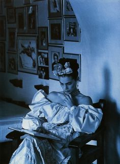 """""""The Passionate Spirit"""": Cordula Reyer photographed by Steven Meisel for Vogue UK, February 1990"""