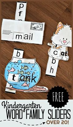 FREE Word Family Sliders - there are 20 free printable black and white sliders to help preschool and kindergarten age kids practice reading. These are so cute!! Just color, cut, slide, and read. #reading #wordfamilies #preschool #kindergarten #freeprintable