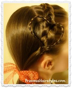 Braided heart headband hairstyle for Valentine's Day