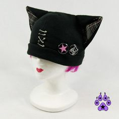 PAWSTAR Plaid Kitty Hat Jrock PUNK kawaii cosplay anime by pawstar