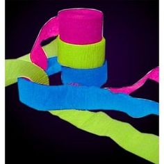 Black Light Reactive Neon Party Streamers for kids to turn themselves into mummies, mummy arms, etc. and dance in the black light.
