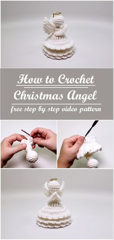 Learn how to crochet the Christmas angel with the help of the step by step instructions Crochet Crafts, Crochet Dolls, Christmas Decorations To Make, Holiday Crafts, Knitting Projects, Crochet Projects, Christmas Knitting, Crochet Christmas, Crochet Angels