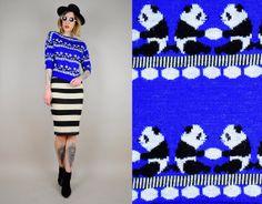 NEON 80's PANDA BEAR Cropped Sweater Jumper by NOIROHIOVINTAGE, $55.00