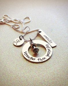 Custom Crossfit inspired necklace personalized by GabbieGoodies, $18.00