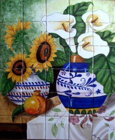 "Ceramic Tile Hand Painted Mural ""Florals"""