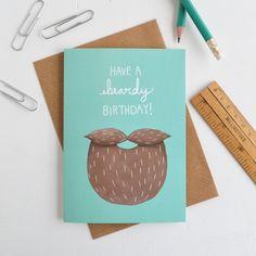Beardy Birthday Mens Greetings Card Turquoise Hipster Card (2.95 GBP) by HannahStevensShop