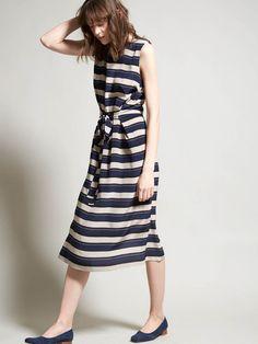 No.6 - Mona Dress - Navy/Cement Stripe