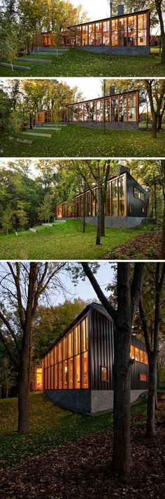 This modern house covered in wood, metal and stone, has floor-to-ceiling windows that follow the line of the roof to take advantage of the lakeside views.