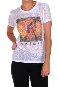 The Anjali Yoga Tee Shirt in White by Anjali. The Anjali Burnout Yoga Tee is made from feather weight Cotton and Polyester burnout fabric. A perfect piece to wear during, before or after Yoga or pretty much anytime, anywhere. $43.95 at www.karmicfit.com #yoga #yogatees