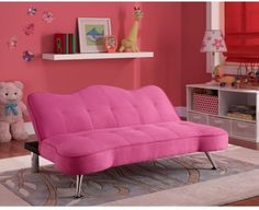 Convertible Sofa Bed Couch Kids Futon Lounger Girls Pink Bedroom ...