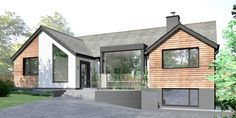 A bungalow extension in Staffordshire with white render, black zink cladding and timber boarding. Bungalow Extension and Renovation - Lime Architecture Modern Bungalow Exterior, Modern Bungalow House, Bungalow Homes, Modern Farmhouse Exterior, Dormer Bungalow, House Cladding, Exterior Cladding, Home Exterior Makeover, Exterior Remodel