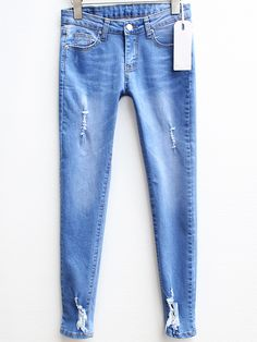Blue Slim Ripped Denim Pencil Pant