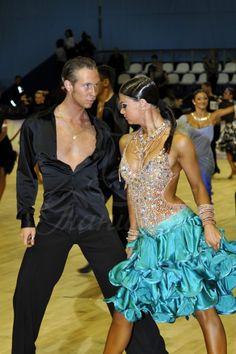 Blue sparkling ballroom dance couple