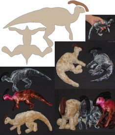 Parasaur-plushies + patterns by *IsisMasshiro on deviantART - OMG Parasaurolophuses are my favourite dinos!!!!
