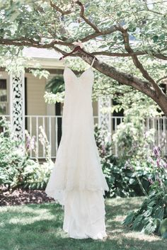 79ef7eb3d47 Wedding Gown hanging from a tree. Brittani Elizabeth Photography