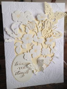 Card by D Marshall, sympathy card using Anna Griffin butterfly embossing die, butterfly die from Anna's Garden cartridge and flower vine cutting die