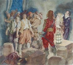 Norman Lindsay, Australia (1879-1969) • Mutiny on the Abrolhos c.1947 • Watercolour • Herbert and May Shaw Bequest • 0755 #WaterColor #drawing Norman Lindsay, Australian Painting, Watercolor Drawing, Asian Art, Metal Working, Contemporary Art, Gallery, Drawings, Prints