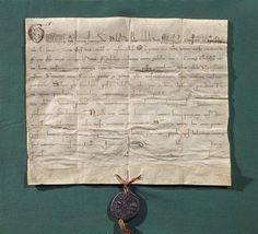 Bulle de dispense papale accordée par le pape Grégoire IX pour le mariage d'Alphonse, comte de Poitiers 27 Mai 1236  DIMENSIONS Hauteur : 0.26 m Largeur : 0.21 m