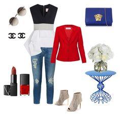 """Outfit Fiestas Patrias"" by macarenack on Polyvore featuring moda, 7 For All Mankind, Roksanda, Joe's Jeans, Versace, Linda Farrow, notNeutral, Diane James, MaxMara y NARS Cosmetics"