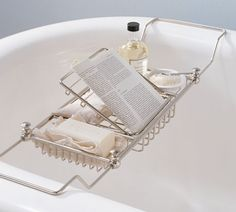 Shop bathtub caddy with book holder from Pottery Barn. Our furniture, home decor and accessories collections feature bathtub caddy with book holder in quality materials and classic styles. Bathtub Tray, Bathtub Caddy, Clawfoot Bathtub, Bathtub Shelf, Bath Tray Caddy, Bathtub Decor, Jacuzzi Tub, Bathroom Storage, Small Bathroom