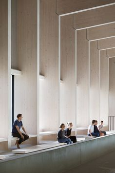 Interior Design Addict: British firm HawkinsBrown has completed a swimming-pool building at a school in Surrey, England, featuring an exposed timber frame that incorporates windows looking out onto the surrounding woodland. Detail Architecture, Timber Architecture, Public Architecture, Japanese Architecture, School Architecture, Futuristic Architecture, Pool City, Swimming Pool Architecture, Wood Facade